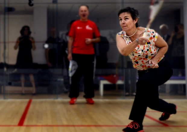 Wakefield MP Mary Creagh plays squash at new club facilities